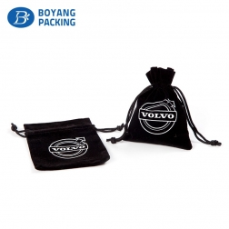 Wholesale logo printed velvet drawstring jewelry pouch
