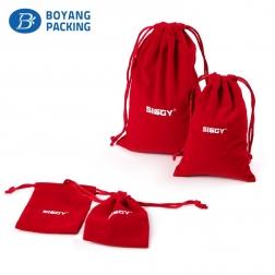 High quality logo customized red cotton drawstring bag
