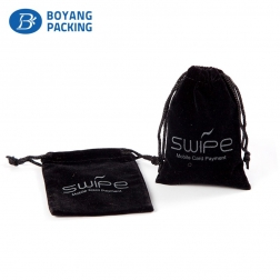 Customized printed logo black velvet jewelry pouch