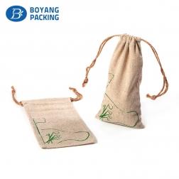 Logo customized linen drawstring gift bag