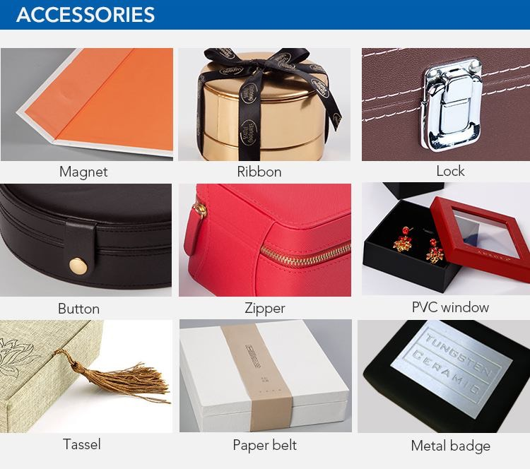 Accessories can be choose about cardboard gift box with lid
