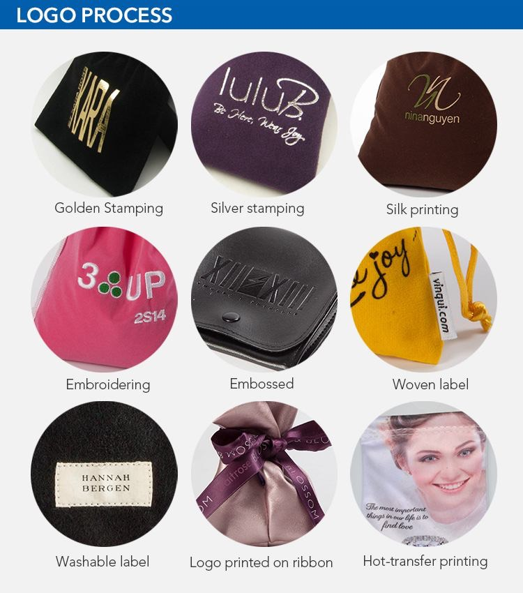 LOGO on velvet drawstring bags wholesale
