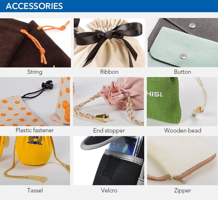 Accessories can be choose about drawstring gift pouch